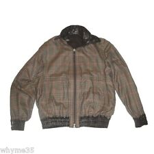 Rare Zilli Brown Leather / Plaid Cashmere Reversible Jacket Small/Medium