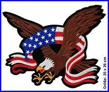XXL Aufnäher Adler,USA Flagge, 20 x 26 cm, Motorrad Indianer Biker Cowboy Patch