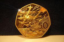 Oro 24k Gratis Día D Normandía aterrizajes 50p moneda UNC. cuando usted compra 10 leptá moneda