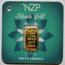 0.05 Gram 24K 999.9/1000 Pure Solid Gold NZP Bullion LBMA Sealed & Serial Number