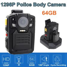 HD 1296P Police IR Pocket Body Secury Camera DVR 140°  64GB +Extra 1 Battery J6G