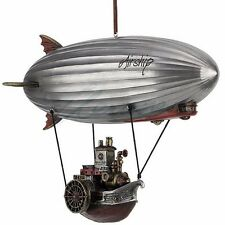 "Steampunk Airship w/ Steamship Gondola Bronze Figurine Miniature Statue 10""L New"