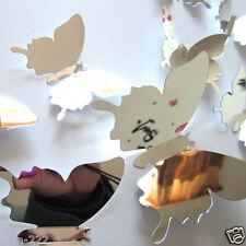 Stickers muraux Miroir 3D papillons 12pcs/Set décoration Soirée maison chambre