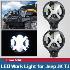 "2X CREE 6"" 60W Round LED Light Driving Work Fog Off-Road Lamp For Jeep Wrangler"