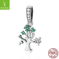 Genuine 925 Sterling Silver Green Tree of Life Pendant Dangle Fit Original Chain