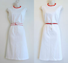 Vintage 1960s Mod DRESS White w/ Red Ribbed Neckline Size 14 Diane Young Sports