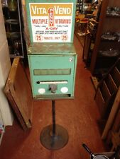 Vtg Vitamin Vending Machine Macon Vita Health Food Store Advertising Metal Sign