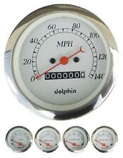 DOLPHIN 5 GAUGE MECHANICAL SPEEDO SET WHITE WITH RED NEEDLES HOTROD/STREETROD