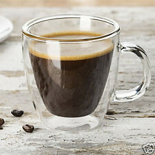 Double Wall Insulated Glass Espresso Mugs Clear Glass Coffee Tea Cups W. Handle