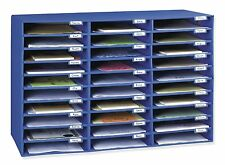Office Mail Box Sorter Blue Desk Organizer 30 Slot Pigeon Hole File Paper New
