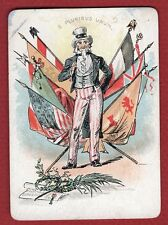 1 Single Swap Playing Card JOKER K70 UNCLE SAM FLAGS SHIPS ANTIQUE WIDE OLD RARE