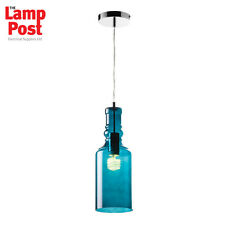Saxby Endon Lighting LANCASTER-1TE 1 Light Teal Glass Bottle Ceiling Pendant