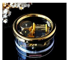 Gorgerous Circle in Gold Wind Up Music Box : Happy Birthday to you