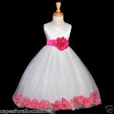 IVORY FLOWER GIRL DRESS PETALS PURPLE FUCHSIA BLACK BLUE PINK RED SKY LILAC NEW