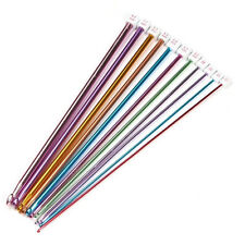 "11PCS 10.6"" 2-8mm Multicolour Aluminum TUNISIAN AFGHAN Crochet Hook Knit Needles"