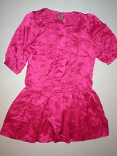 New Juicy Couture Dress Short Sleev Womens 4 NWT Bright Hot Pink Polka Dots Silk