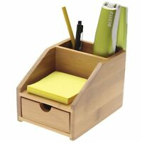 Small Desk Tidy Stationary Organiser with Drawer Goldenrod Bamboo Colour