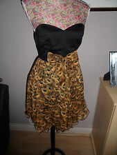 LADIES DRESS WITH PEACOCK FEATHERS PRINT SIZE 8 IDEAL FOR A WEDDING ETC  NEW