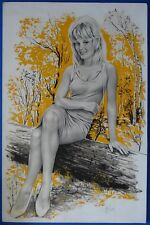 "ASLAN : ""Pin-up en forêt""  DESSIN ET AQUARELLE SUR PAPIER SIGNEE AUTHENTICITE"