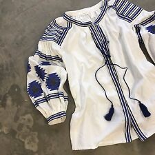 New ANTHROPOLOGIE Festival Embroidered White Folk Peasant Blouse Top - Medium