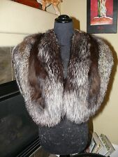 Gorgeous Hollywood Glam Scaloped Silver Fox Fur Stole Wrap Cape Coat Jacket