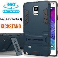 [2015 NEW Outlet] Samsung Galaxy Note 4 Case [KICK-STAND] Dual Armor-MetalSlate
