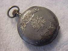Vintage STERLING SILVER antique 1800 NARCISSE pendant pocket watch . NR