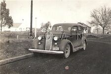Vintage Real Photo- Family 1936 Chrysler Car- Grill Work- License Plate- 1942