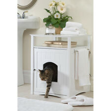 Bathroom Furniture White Hidden Cat Litter Box Enclosure