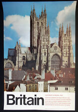 1960s Vintage CANTERBURY CATHEDRAL Kent GREAT BRITAIN Airlines TRAVEL POSTER Art