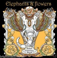 Elephants & Flowers Adult Colouring Book Animals Nature Floral 1 Sided Jungle