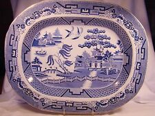 Staffordshire Transferware Blue Willow Pearlware Meat Dish Platter early 19th