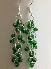 Unique Rare Green Glass seed Beaded chainmaille earrings With Sterling Silver