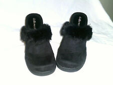 DOLLHOUSE NWOB  HIGH HEEL CLOGS SUEDE LOOK WITH FAUX FUR BLACK SIZE 7 1/2