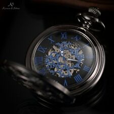 KS Half Hunter Antique Blue Hand-Winding Men Skeleton Mechanical Pocket Watch