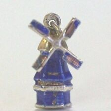 Vintage Sterling Silver Wind Mill Charm with Blue Enamel