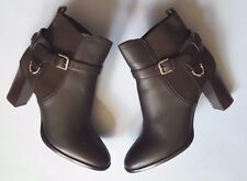 RALPH LAUREN COLLECTION DARK BROWN MEADOW LEATHER ANKLE BOOT ER38.5B US8B ITALY