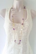 "Stunning 36"" long gold tone chain necklace with purple & faux pearl bead detail"