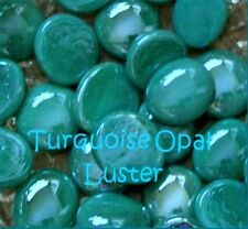 NEW * TURQUOISE OPAL LUSTER glass gems MOSAIC TILE Tiles