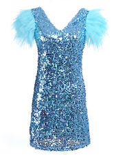 Anna-Kaci S/M Fit Dramatic Disco Diva Ruffle Tiered Sleeves Sequins Dress