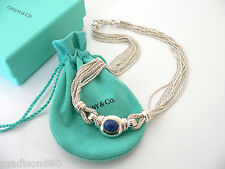 Tiffany & Co 18K Gold Silver Blue Lapis Gemstone Multi Strand Necklace Pendant