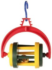 Hanging Rolling Barrel with Bell Colourful Budgie Bird Cage Toy, Various Colours