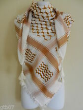 Mustard Brown Arab Shemagh Head Scarf Neck Wrap Authentic Cottton Palestine
