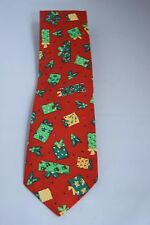 TANGO BY MAX RAAB Red Green Christmas Presents Holiday Cotton Necktie Tie