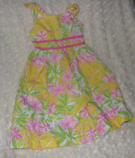 LILLY PULITZER LITTLE GIRL DRESS 5 ELEPHANT FLOWER FLORAL YELLOW PINK GREEN