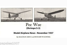 """Model Airplane Plans (FF): Vintage 1937 SHRIMPO S-3 Pee Wee 44½"""" for .049-.09"""