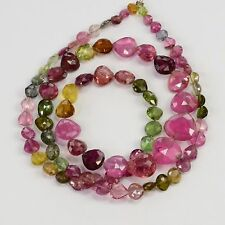52CT Multi Tourmaline Faceted Center Drilled Heart Briolette Bead 16 inch strand