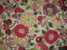 "SANDERSON CURTAIN  FABRIC  DESIGN ""Tree Poppy"" 3.3 METRES RED & PLUM (330 CM)"
