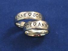 2 Stainless Steel 6mm Personalized Couples Name Ring Bands Wedding Anniversary