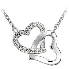 Fashion Intertwined Crystal Plated Necklace Heart To Heart Valentine's Day Gift